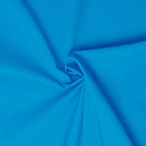 designers-factory Tessuto di Cotone al Metro - Disponibile in Diversi Colori - Stoffe di Cotone Tinta Unita – Stoffa al Metro 100% Cotone - Tessuto in Popeline per Cucire (1m x 1m46, Turchese)
