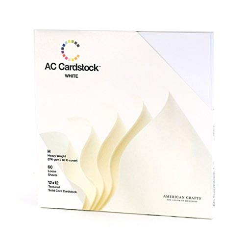12 x 12-inch White AC Cardstock Pack by American Crafts | Includes 60 sheets of heavy weight, textured white cardstock