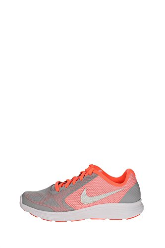 Nike Revolution 3 (GS), Zapatillas de Deporte para Niñas, Amarillo/Plateado/Gris (Brght Mango/Mtllc Slvr-WLF Gry), 36 1/2 EU