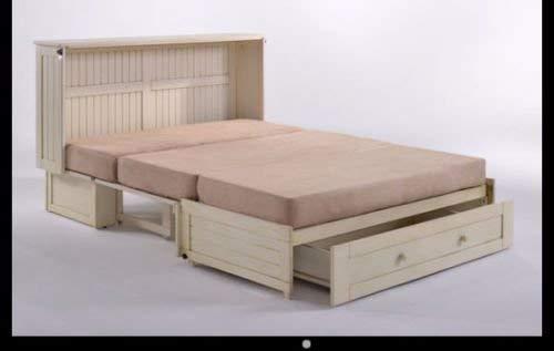 Night & Day Furniture Daisy Murphy Cabinet Memory Gel Foam Tri Fold Mattress, Queen, Butter Cream