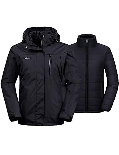 Wantdo Women's 3-in-1 Waterproof Ski Jacket Windproof Winter Snow Coat Snowboarding Jackets Raincoat