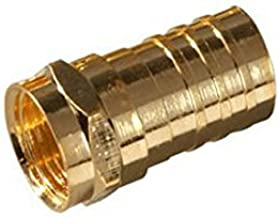 F-Connector RG-6 Crimp-On Gold Plated EA Coaxial Cable Single 25 Pack RG6 Satellite Dish TV Antenna Video Signal Data Crimp Plug Connector