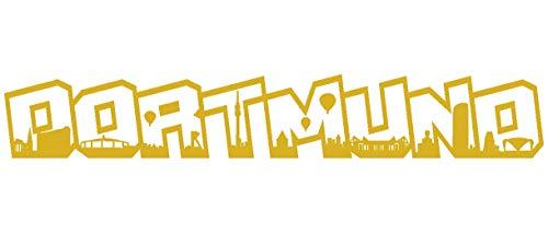 Samunshi® Aufkleber Dortmund Schriftzug Skyline Wohnmobilaufkleber in 9 Größen und 25 Farben (60x9,4cm goldmetalleffekt)