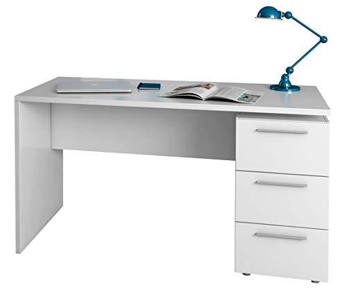 EGLEMTEK Scrivania con Tre Cassetti Terrasa Scrittoio Mobile per Computer Desk da Ufficio Soggiorno Sala da Pranzo 138 x 74 x 60 cm Colore Bianco
