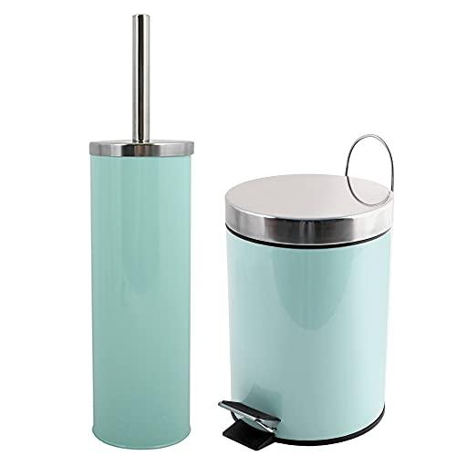 Wellhome Set decoración baño 3 litros Juego, en Color Verde Pastel, Acero Inoxidable y Metal, Papelera: 25 (Alto) xØ17 cms Escobillero: Ø9,3x38,5 (Alto) cms