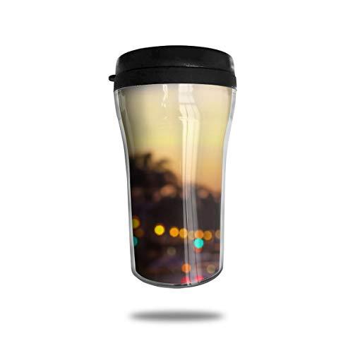OUYouDeFangA Blur City Street - Taza de café de viaje con impresión 3D portátil, taza de té aislada, botella de agua para beber con tapa de 8 onzas (250 ml)