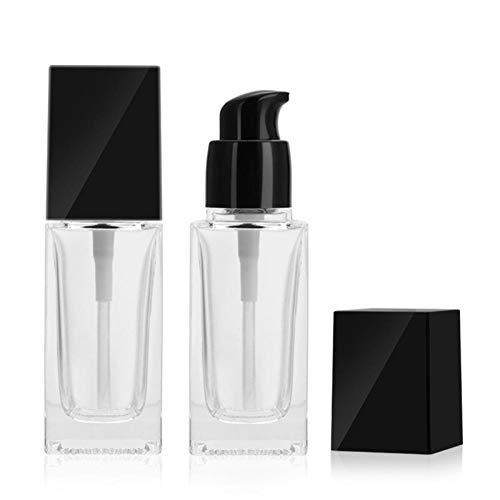 FIRMLEILEI 30ml Lotion Flüssigkeit nachfüllbar Flaschen Foundation Square Frosted Glaspumpe Flasche Klare Emulsion Kosmetische Verpackungsbehälter Behälterflasche