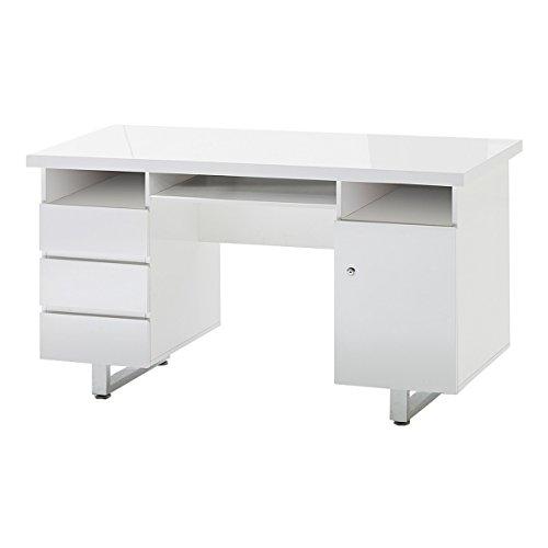 140 x 60 cm blanco mesa escritorio Lucido con puerta: Amazon.es: Hogar