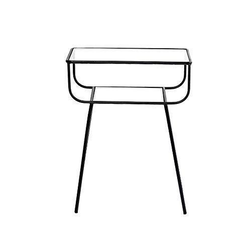 HLL Bookcases Modern Minimalist Metal Edge a Few Sofa Corner Bedroom Iron + Glass Bedside Table Glass Nightstand,Black