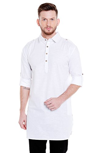 In-Sattva Men's Pullover Pathani Rollup Sleeve Kurta Tunic with Shoulder Strap; White; MD
