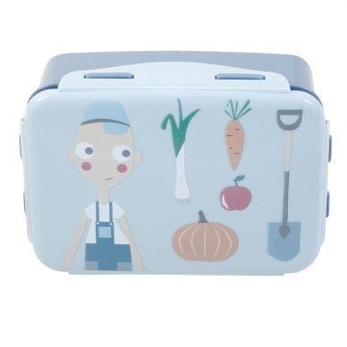 Sebra Lunchbox, Farm, Brotdose blau Junge 18cm x 13cm x 6,5cm Sebra0448