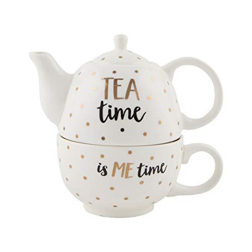 Sass et Belle métallique Monochrome Tea Time Théière pour une personne