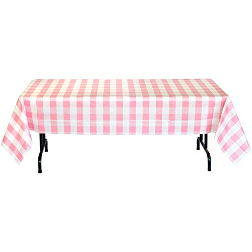 Havercamp Pink and White Plaid Table Cover | 54' x 108' | Classic Plaid Collection | Great for Picnic, Barbecue, Cookout, Lumberjack Theme, Playground