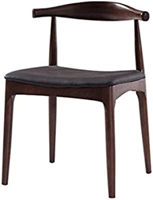 WF-chairs Solid Wood Horn Chair, Curved Backrest Chair for Home/Kitchen/Dining/Bedroom/Reception Room/Conference Room Walnut Color 47x46x77CM Modern Style (Color : Walnut Color, Size : 47x46x77CM)