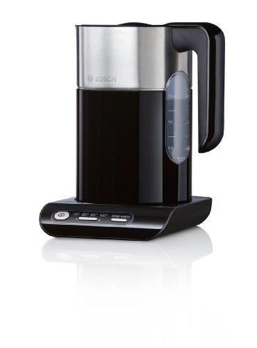 Bosch TWK8613 Wasserkocher Styline (Kunststoff mit Edelstahlapplikationen, 1.5 L, 2000-2400 Watt max) schwarz/silber
