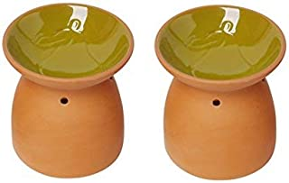 Hosley Set of 2 Ceramic Pear Oil Warmer 4.5 Inch High Ideal for Weddings or Spa and Reiki as Well as Meditation and Aromatherapy W9