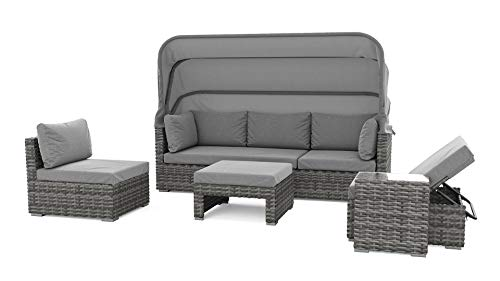 ARTELIA - Pacific Polyrattan Loungemöbel - Gartenmöbel-Set für Garten, Terrasse, Wintergarten und Balkon, Sonneninsel Gartenmöbel Ocean Grau