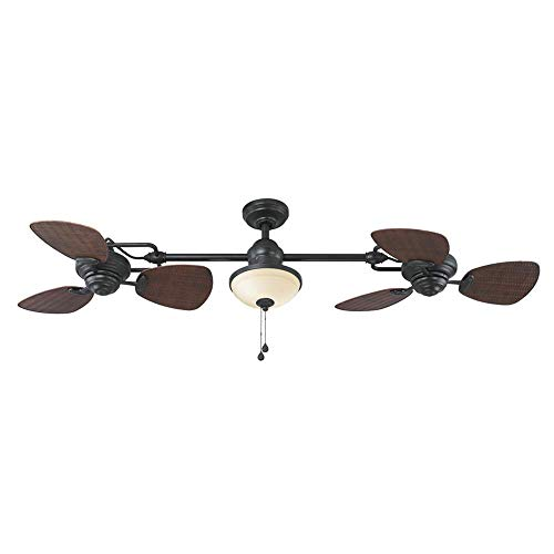 Harbor Breeze Twin Breeze Ii 74-in Oil-rubbed Bronze Outdoor Downrod Ceiling Fan