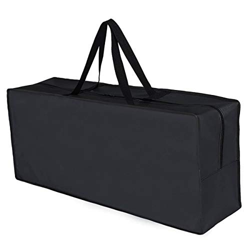 RICHIE Patio Furniture Seat Cushions Storage Bag Waterproof Bag for Cushions with Zipper and Handles, Black 130x32x52cm