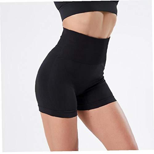 Aiyrchin Yoga Yoga Pantalones Cortos para Mujer Leggings Cortos de Cintura Alta sin Fisuras de Control de la Panza Correr Pantalones de Medias Negro L