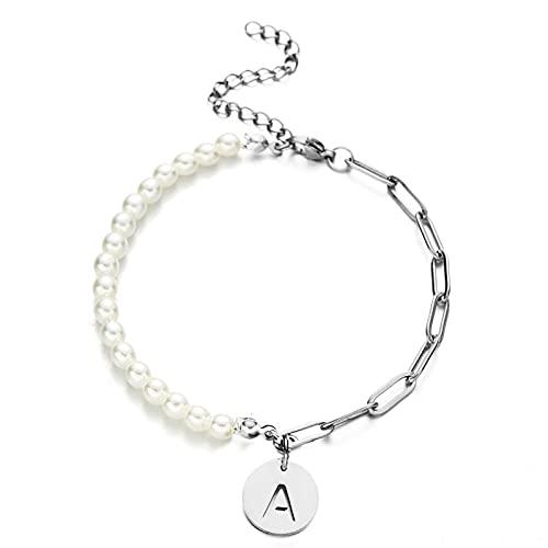 YITIANTIAN Pulsera con Nombre Inicial de Cadena de Perlas imitadas de Acero Inoxidable para Mujeres y niñas, Pulseras con Letras de Perlas, joyería de Boda