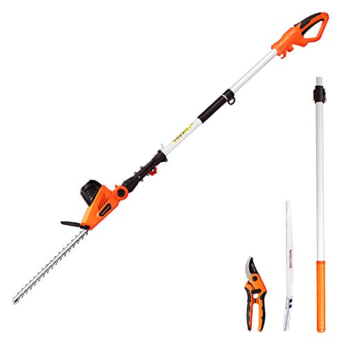 GARCARE Electric Hedge Trimmers 4.8A Pole Hedge Trimmer Corded | Hedge Clippers | Tree Trimmer, 3 in 1 Set - 2.5M Pole Saw & Pruning Shears Included, 20inch Laser Cut Blade