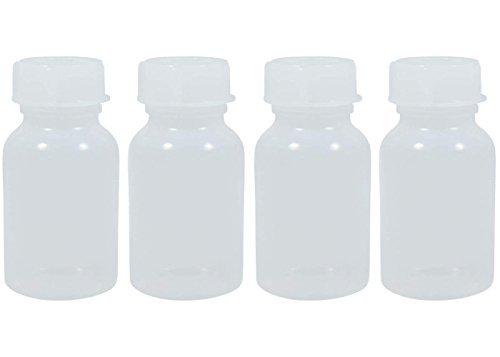 4 x Weithalsflasche 100 ml mit Schraubverschluss, Apothekerflasche, Laborflasche, Medizinflasche, Vorratsdose, Kunststoffdose, aus Kunststoff (PE-LD), BPA frei - made in Germany