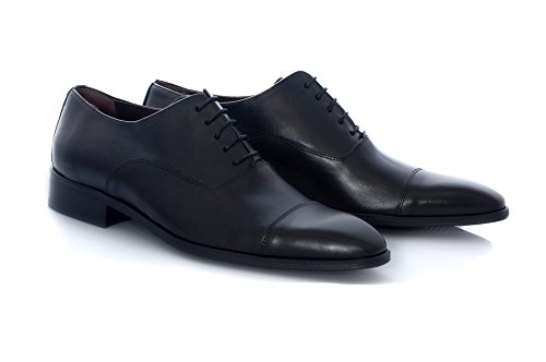 Zapatos de Vestir de Hombre Marca Zeddea - Calzado cómodo y Elegante- Fabricado en Piel- Color Negro - Talla 46