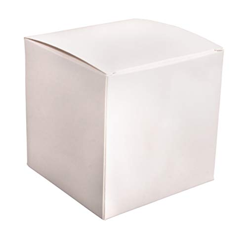 Rayher 67323102 Quadratische Faltschachtel zum Befüllen, 6er Set, Geschenkboxen aus Karton, weiß, 10x10x10 cm