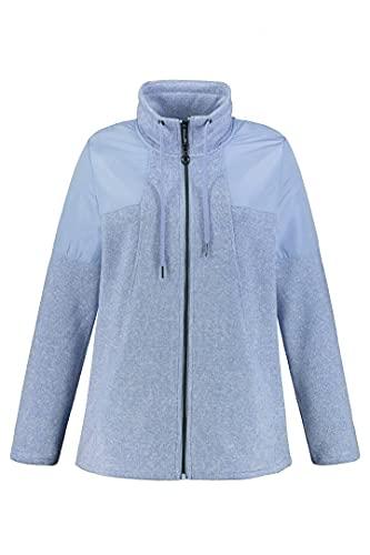 Ulla Popken Damen Sweatjacke mit Schulterpatches Sweatshirt, zartes hellblau, 54+