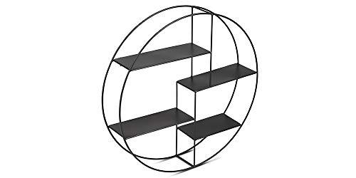 LIFA LIVING 2er Pack Rundes Wandregal modern aus schwarzem Metall, 2er Set Gewürzregal im Industrie Design, Küchenregal mit 4 Böden, Wanddeko Ø 55 cm x 11 cm