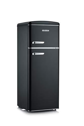 SEVERIN Réfrigérateur Congélateur 2 portes, Pose libre, Largeur 55cm, 206L, Classe E, Veggibox incluse, Rétro, Noir mat, RKG 8932