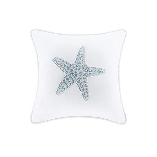 "Harbor House Modern Design Decorative Pillow Hypoallergenic Sofa Cushion Lumbar, Back Support, Square 16"" x 16"", Maya Bay, Cotton Blue"