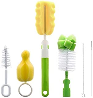 6 in 1 Bottle Brush Cleaner Kit, Cleaning Brush Set for Cups Sports Bottle Baby Bottle Nipple Straws and more, Green