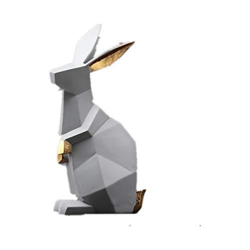 BINLIN Sculpture Gift Decor Cute Rabbit Decoration Animal Modern Minimalist American Home Decoration Living Room Desktop Sculpture Statue Crafts,Gray