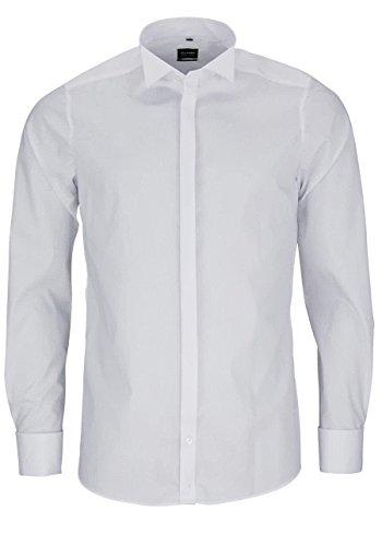 OLYMP Level Five body fit Gala Hemd ohne Manschettenknopf Stretch weiß, Gr. 36