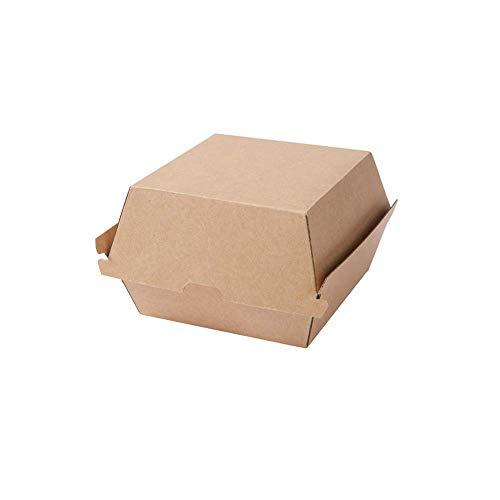 BIOZOYG Take Away Burger Box 50 Stück I robuste Burgerboxen mit hohem Klappdeckel I Hamburger Box aus Kraftkarton I stabile to Go Burger Verpackung 16,8 x 15,4 x 9,8 cm I biologisch abbaubar