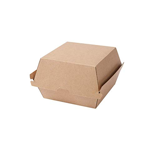 BIOZOYG Take Away Burger Box 50 pieces I robust burger boxes with high hinged lid I hamburger box made of kraft cardboard I To Go Burger packaging cardboard brown 16,8 x 15,4 x 9,8 cm I recyclable
