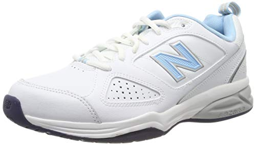 New Balance Wx624Wb4 - entrenamiento/correr de cuero mujer, Blanco - blanco (White/Blue), 41 EU (7.5 UK)