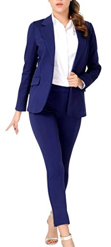 Marycrafts Women's Business Blazer Pant Suit Set for Work 12 Navy