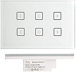 Nue ZigBee 2 Gang Smart Light Dimmer Switch for Home Automation and Alexa Voice Control