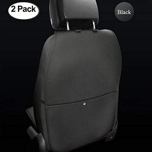 HCMAX 2 Pack Kick Mat Car Seat Back Protector Waterproof Easy to Clean Multifunctional Organizer Storage Bag Travel Accessory PU Leather Black
