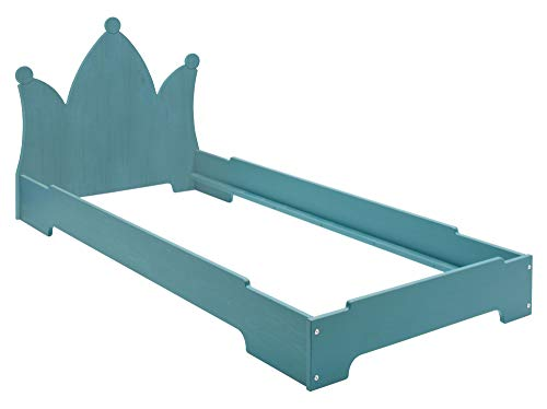 BioKinder Kai stapelbed stapelbed gastenbed met hoofdbord massief houten kroon grenen 90 x 200 cm blauw geglazuurd
