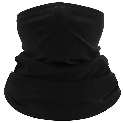 Neck Gaiter Warmer Windproof Cold Weather Cycling Scarf Soft Winter Balaclava Face Cover for Running Skiing Hiking (Black)