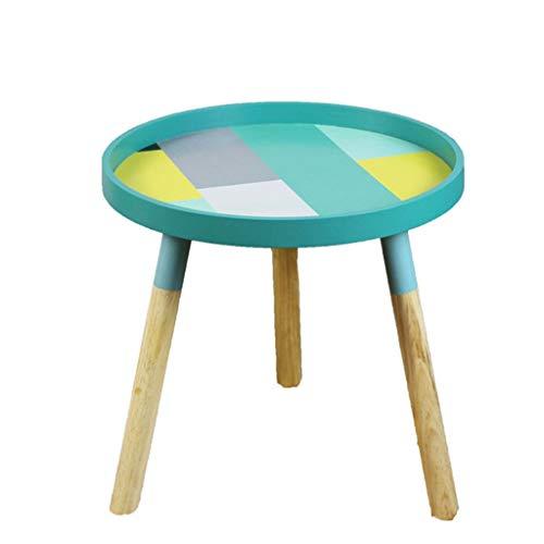 Yyqx Mesita de Noche Mini mesas de café pequeñas nórdicas y Frescas Mesas Redondas Bajas de Madera Creativa Muebles for el hogar Accesorios for la decoración del hogar Mesita de Luz (Color : A)