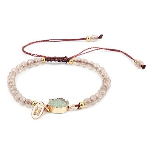 Buwei Frauen Harz Druzy Stein Perlen Armband Stapelbare handgeschnittene Kristall Stretch Armreif