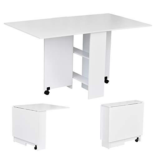HOMCOM Klapptisch Schreibtisch Beistelltisch Tisch Ablagefläche Holz weiß