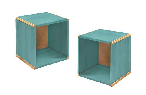 BioKinder 24712 set van 2 wandrekschotten kubusvormige houtblokken massief grenen 35 x 32 x 35 cm blauw gelakt