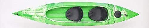 Kaitts Zweierkajak Grampus I Einerkajak mit offener Luke Angelkajak Einsteigerkajak, Farbe:Grün-Weiß-Marmoriert