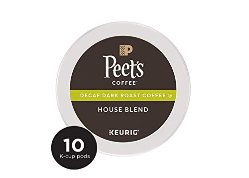 Peet's Coffee K-Cup Pack Decaf House Blend, Dark Roast Coffee, 10 Count Decaf Coffee, Bright & Balanced Dark Roast Blend of Latin American Coffee, Medium Bodied